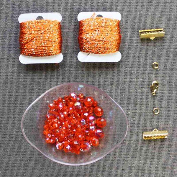 "Kit collier ""Cascade"" perle de verre de Bohême"