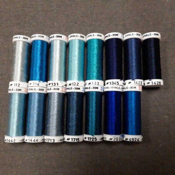 nuancier soie ovale bleu