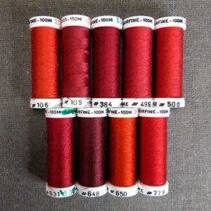 Nuancier soie surfine en 100m déclinaison de rouge