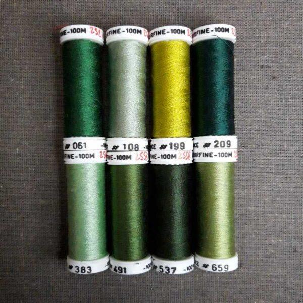 nuancier de soie surfine déclinaison de vert