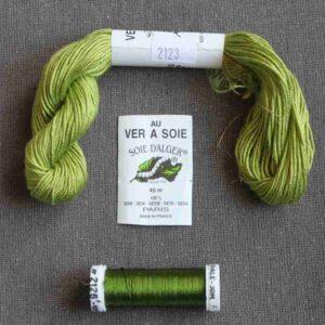 Kit de soie vert pour éventail